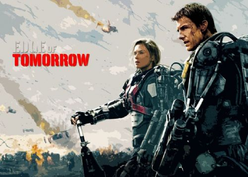 2010's Movie - EDGE OF TOMORROW - CUT OUT PAINT / canvas print - self adhesive poster - photo print
